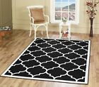 Large Modern Geometric Moroccan Trellis Thin Carpet Black Contemporary Area Rug