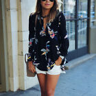 Summer Fashion Women's Floral Casual Loose Long Sleeve Blouse Tops Shirt T-shirt
