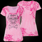 Sinful AFFLICTION Womens T-Shirt ORNATE LOVE Skull PINK Tattoo Biker UFC $38