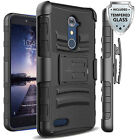 For ZTE Max XL / N9560 Heavy Duty Case Cover w/ Belt Clip Holster + Glass Screen