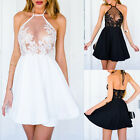 Summer Women Casual Sleeveless Cocktail Party Evening Lace Short Mini Dress 2017