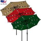 Patio Solar Umbrella LED Tilt Aluminium Deck Outdoor Garden Parasol Sunshade