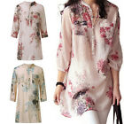 Pop Vintage Women Floral Printed Casual Loose Tops Shirt Tunic Dress Kaftan UK