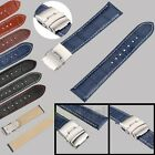 Mens Womens Genuine Leather Watch Strap Band Croco Deployment Clasp Spring Bars