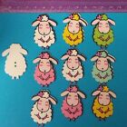 10 Cute Sheep Wooden Craft Buttons Scrap booking Cards Embellishments