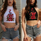 Women Summer Tube Crop Top Embroidery Floral Blouse Casual Vest Top Shirt HX