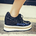 Stylish Women Black Color Creeper Lace Up Synthetic Hikking Jogging Shoes Wedge