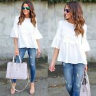 Women Half Flare Sleeve Loose T-shirt Tunic Floral Applque Casual Tops DZ8801