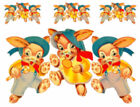 Vintage Image Nursery Boy Girl Rabbits Bunnies Shabby Waterslide Decals AN535