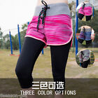 Fashion Womens Sports Gym Yoga Flase 2pc Cropped Pants Leggings Fitness HX