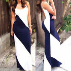 Women Summer Sleeveless Maxi Dress Loose Casual Patchwork Long Dress HX