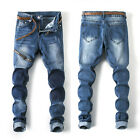 Men's Straight Denim Jeans Ripped Classic Pants Skinny Trousers Slim Fit Zipper