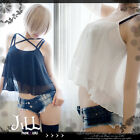 japan korean street chic sexy see through tiered chiffon tank top【J1R0015】