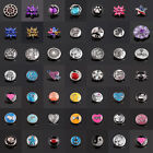 3D 18mm Rhinestone Drill Snaps Chunk Charm Button For Noosa Leather Bracelets