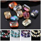 10pcs 14x10mm Square Glass Crystal Faceted Charms Loose Spacer Beads Findings