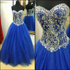 Evening Dresses Royal Blue Crystals Ball Gown Princess Prom Quinceanera Dress