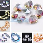 10pcs 14mm Faceted Crystal Glass Charms Heart Findings Loose Spacer Beads