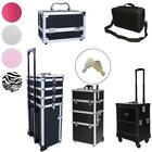 Pro PVC/Aluminum Makeup Rolling Case Bag Lockable Cosmetic Wheeled Trolley Box