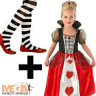 Queen of Hearts + Tights Girls Fancy Dress World Book Day Kids Childrens Costume