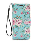 Mint Floral Leather Wallet Phone Protector Cover Case for Samsung Galaxy S7 edge