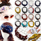 Women Yoga Elastic Floral Hair Band Turban Twisted Knotted Headband Accesories