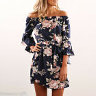 Women ashion Design Off-shoulder Sexy Backless Floral Printed Long Dress HX