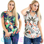 Womens Floral Choker Tops V Neck Ladies Short Sleeves Casual T Shirts Plus Size