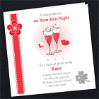 Personalised Hen Night Card Gift KC02 Bride To Be Party Do Sign Lips Glass Red