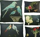 Parrots Cushion Cover Printed Fabric Nina Campbell Perroquet Black Cotton Birds
