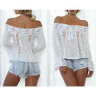 Fashion Summer Women Lace Off Shoulder Long Sleeve Casual T-Shirt Tops Blouse