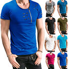 Mens High Quality T-shirts Zipper Cool Design Short Sleeve O-neck Tops Tees