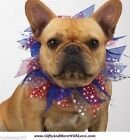 Aria NWT Red White Blue PATRIOTIC STARS RIBBON PET DOG COLLAR SCRUNCHY ~ S M L
