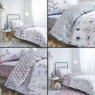 Kids Bianca 100% Cotton Soft Print Duvet Quilt Cover Set Nordic Pink Blue White