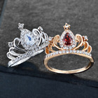 Noble Women Princess Queen Crown Ring Fashion Silver Plated Crystal Ring New
