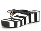 NEW Kate Spade Rhett Wedge Thong Flip Flop Sandal Black White Stripe Womens Sz 9
