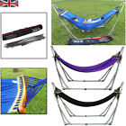 Folding Hammock With Frame & Stand Weatherproof Metal Frame Garden Outdoor Swing