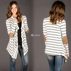 Ladies Women Casual Long Sleeve Stripe Asymmetrical Hem Open Front DZ88