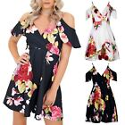 Womens Frill Flower Floral Asymmetric Wrapover Ladies Strappy Swing Skater Dress