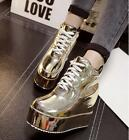 Womens Ankle Boots Lace up High Wedge Heel Creepers Platform Shoes SH