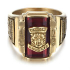 Stainless Steel Gold Red Crystal Fashion Mens Ring KR0611