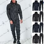 Mens Sports Hooded Zip Up Stripe Camouflage Trouser Joggers Sweatshirt Tracksuit