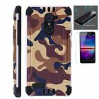 ZTE Slim Case + TEMPERED GLASS/ Duo Layer Phone Cover BROWN CAMO COMBAT