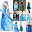 Girls Frozen Queen Elsa & Princess Anna Disney Cosplay Costume Party Fancy Dress