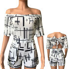 Summer Womens Sexy Off Shoulder Jumpsuit Short Romper One-Piece Clothes Casual