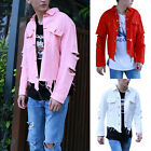 Mens Couple Denim Jacket Loose Long Sleeve Short Coat Broken Holes Tops Outwear
