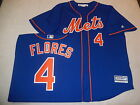 6923 Mens MAJESTIC New York Mets WILMER FLORES Sewn Baseball JERSEY BLUE New