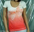 Aeropostale Women Sequins Beads Embellished Cotton Peach Tee T shirt MSRP$29.50