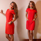Ladies Casual Bodycon Solid Color Mini Dress With Pockets Boat Neck Party Tunic