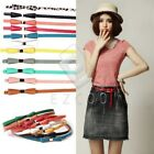 Women's Candy Color Leapord Metal Bowknot PU Leather Thin Skinny Waistband Belt