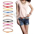 Women Rectangle Cross Buckle Candy Color Thin Skinny PU Leather Belt